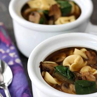 Tortellini Soup with Balsamic Caramelized Onions & Mushrooms