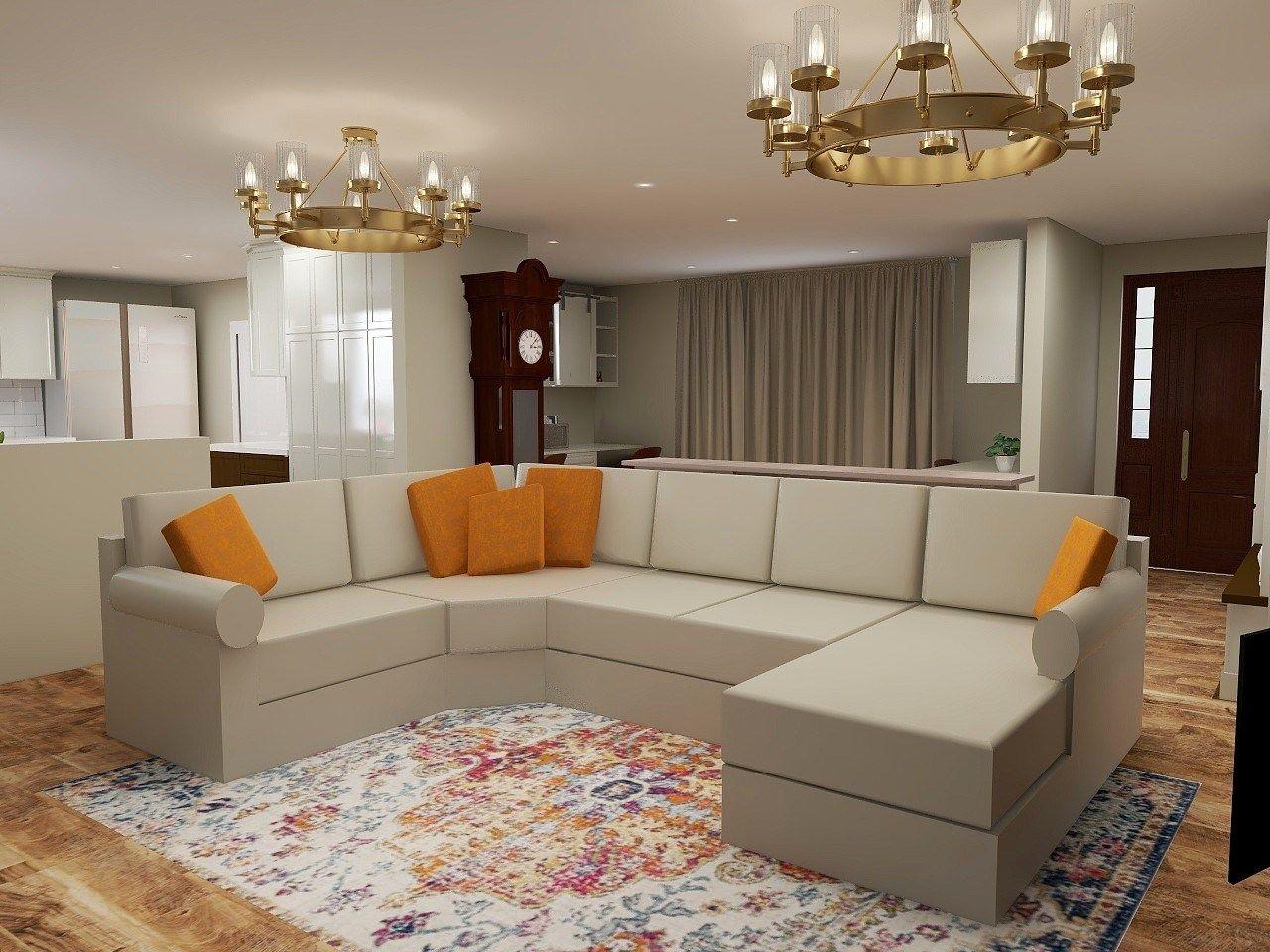 1970s ranch home renovation living room 3d renderings superior construction and design orange beige  chandeliers