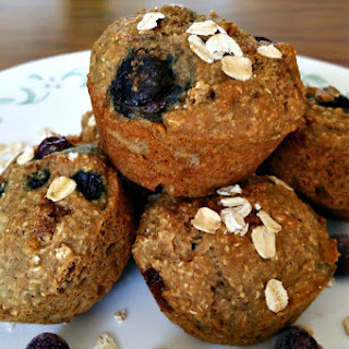 Healthy Oatmeal Blueberry Muffins.