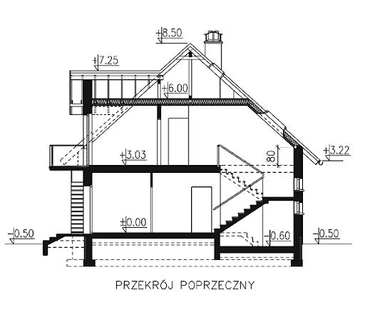 BW-27 z garażem dwustanowiskowym - Przekrój