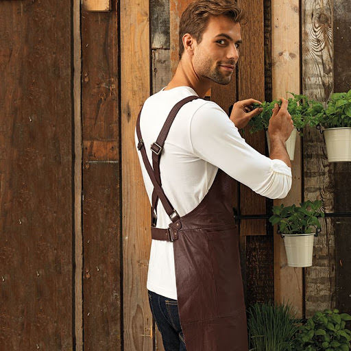 Artisan real leather cross back bib apron