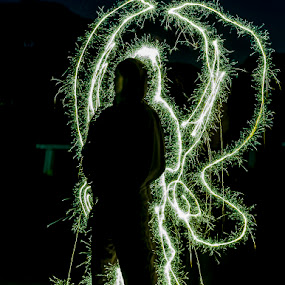 Angel in the dark by Ms Lyons Photography - Abstract Light Painting ( light painting, night photography, night shot, light, angel light )