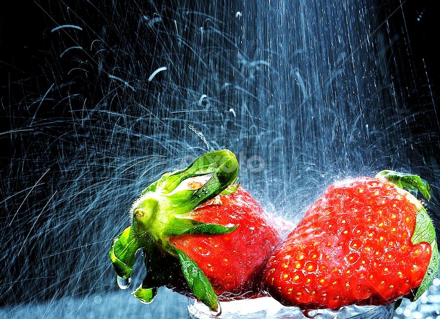 Strawberries by Vineet Johri - Food & Drink Fruits & Vegetables ( water, vkumar, strawberries, shower, sprey )