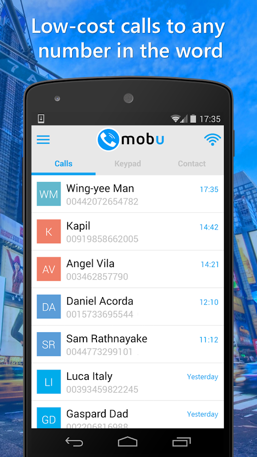 Mobu cheap international calls- screenshot