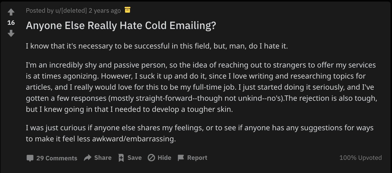 reddit hate freelance cold emailing