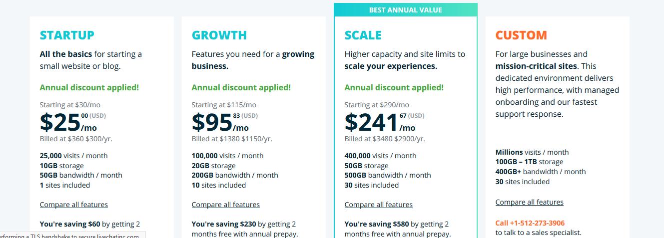 WP Engine Pricing for WordPress Hosting