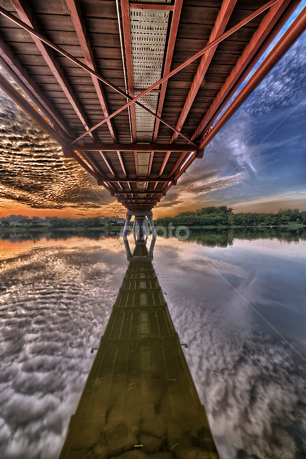 Reflection by Partha Roy - Buildings & Architecture Bridges & Suspended Structures ( clouds, water, structure, reflection, sky, vanishing point, hdr, bridge )