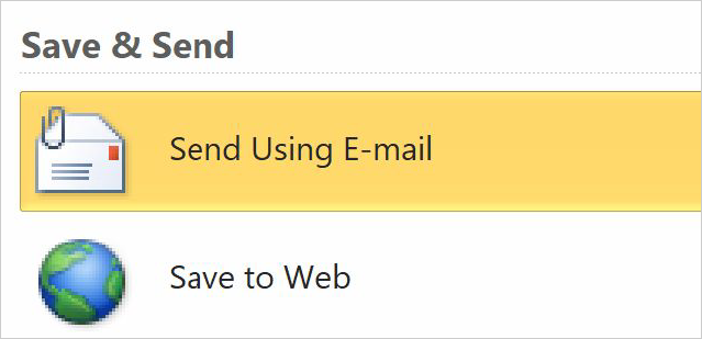 Save and send options in 2010 version