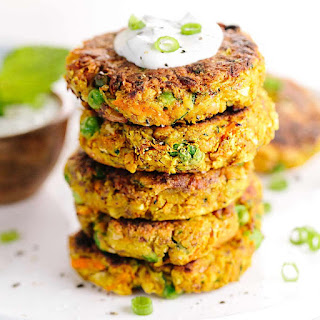 Indian-Spiced Vegetable Cakes with Chickpeas.