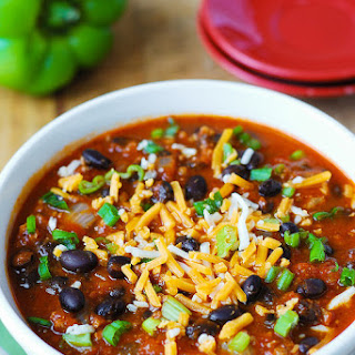 Pumpkin Chili with Beef and Black Beans.