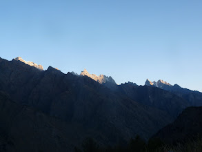 Photo: First rays of sun over the high rise peaks. It was freakin cold at our camp and we were desperately waitin for the sun