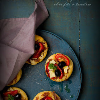 Brioche Pizettes With Feta Olive & Tomatoes.