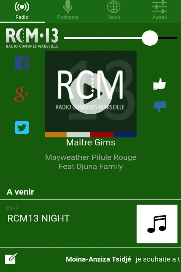 Radio RCM 13 – Capture d'écran