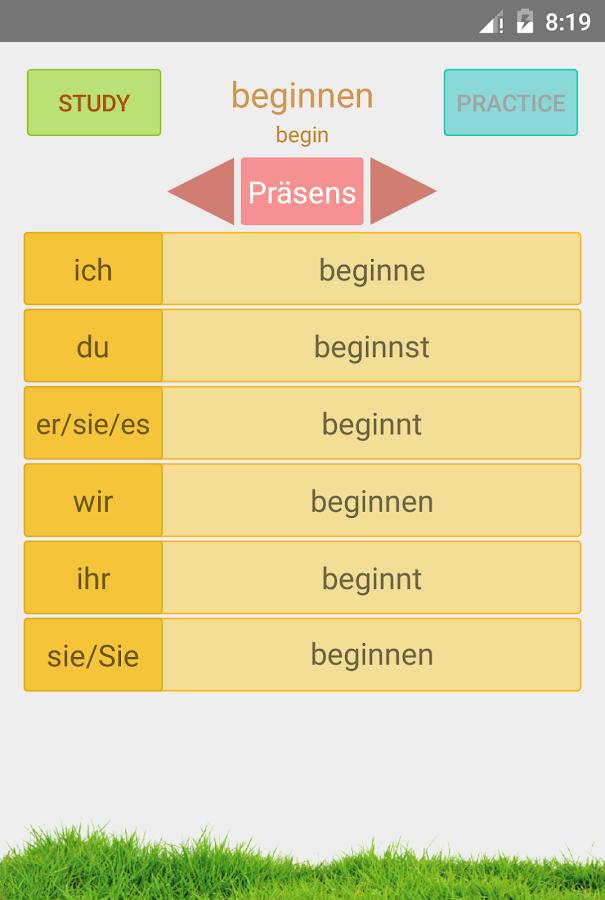 Γερμανικά Ανώμαλα Ρήματα - στιγμιότυπο οθόνης
