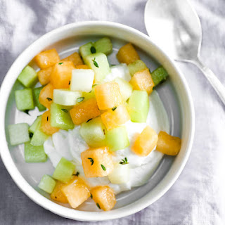 Fresh Cantaloupe and Honeydew Salad With Lemon and Thyme.