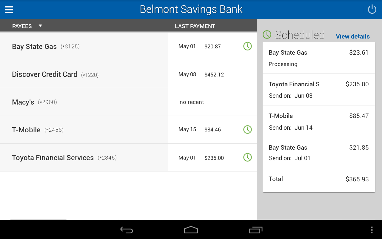 Belmont Savings Bank- screenshot