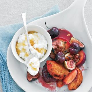 Oven-Roasted Summer Fruits with Ricotta-Vanilla Cream.