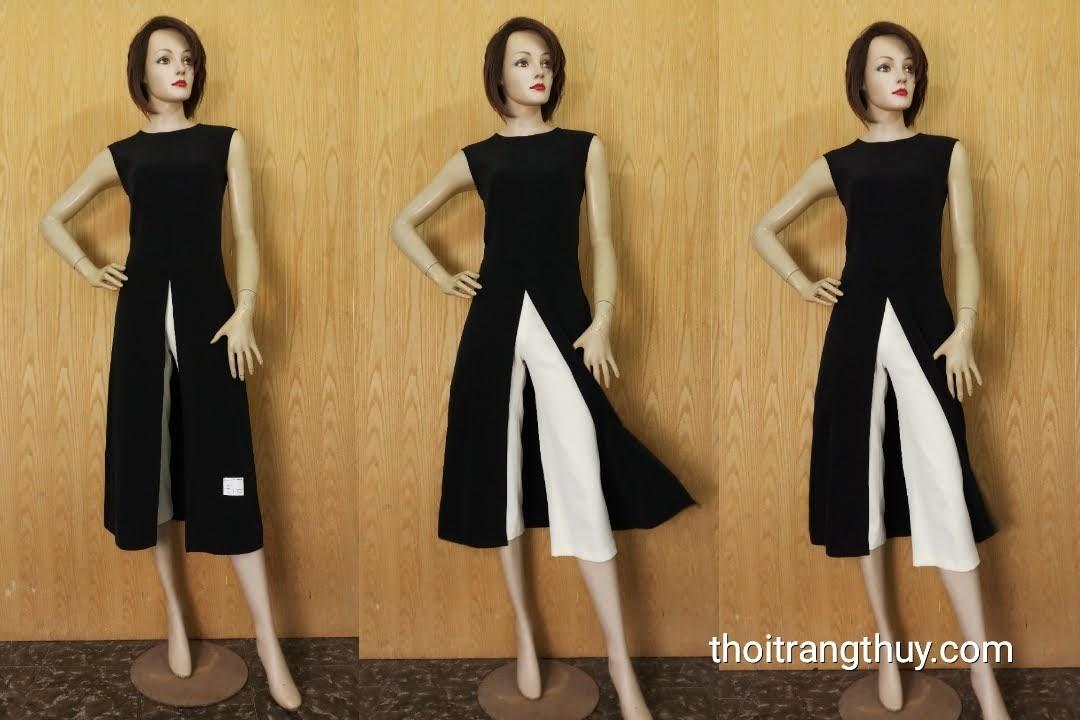 Áo dáng dài sẻ tà trước và quần culottes ống rộng V607 Thời Trang Thủy