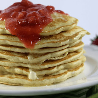 Pancakes with Strawberry Sauce.