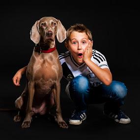 friends by Paweł Mielko - Babies & Children Child Portraits ( studio, portraiture, children portrait, portrait photographers, children, portraits, dog, boy, portrait, boy and dog,  )