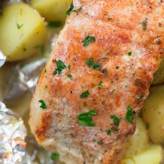 Baked Ranch Pork Chops and Potatoes Foil Packets.