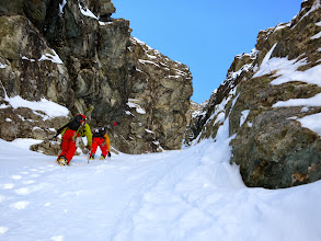 Photo: Above the crux the Couloir is about 45 degrees and continues between massive rock walls..