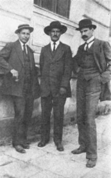 Николай Лилиев, Радославов и Владимир Димитров-Майстора като учители в Свищовската търговска гимназия, 1915 г.