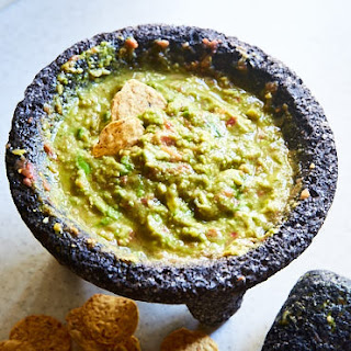Authentic Homemade Guacamole in a Molcajete