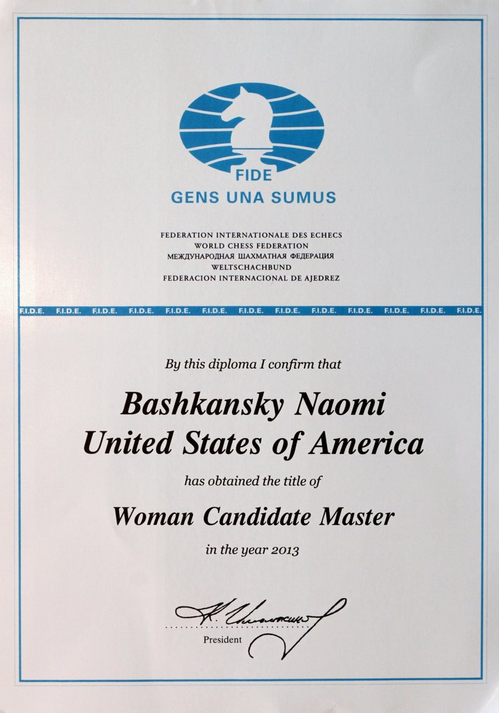 chess travel naomi fide wcm title diploma finally half a year after becoming pan american co champion naomi has received in the mail her fide w candidate master title diploma signed by fide