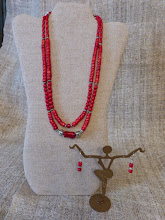 Photo: #185 THE COOPER'S DAUGHTER ~ БОНДАРІВНА Coral, silver plate $140/set SOLD