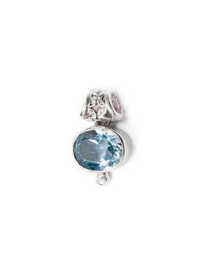 Blå topas, hänge med fasettslipad sten