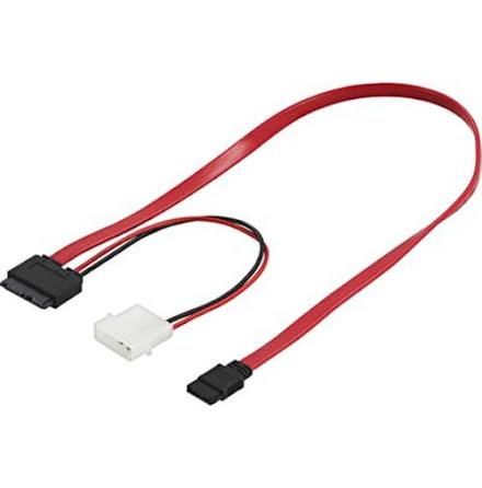 DELTACO Slimline SATA-kabel för t.ex. Slimline DVD-spelare, ström+data, 5 Volt, 50 cm