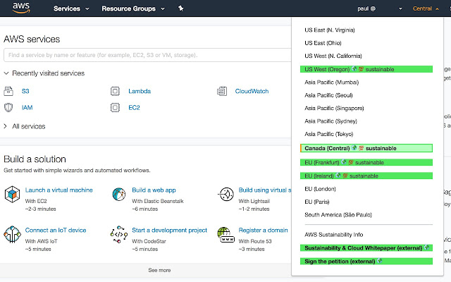 Cloud Sustainability Console