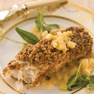 Halibut with Nut Crust and Apple Vinaigrette.