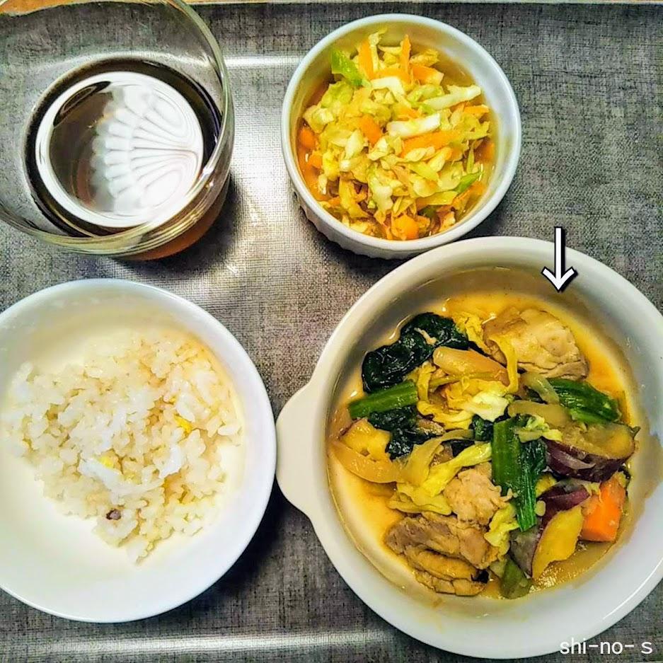 野菜と鶏肉のおかずなど、晩ごはんのアップ