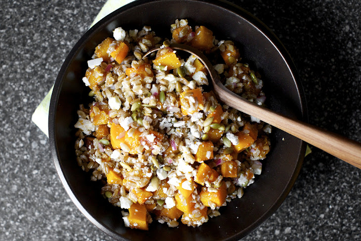Butternut Salad with Farro, Pepitas and Ricotta Salata Recipe | Yummly