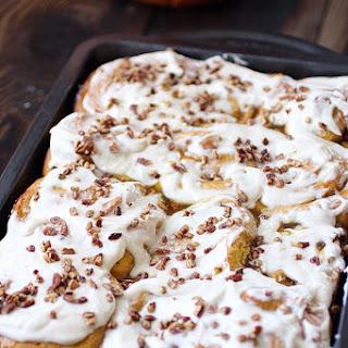 Pumpkin Pecan Cinnamon rolls with Cream Cheese Frosting