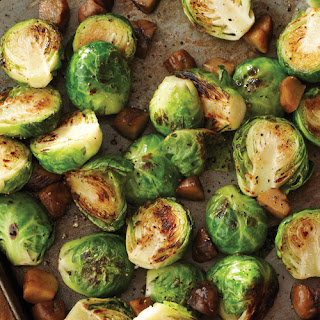 Roasted Brussels Sprouts with Chestnuts.