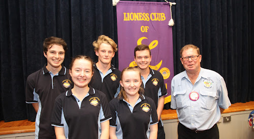 Lions Youth of the Year contestants, back, from left, Matthew Nash, Auley O'Shea, Layten Smith, front Jemma Baxter and Emily McFarland with Narrabri Lions president Ross Campbell.