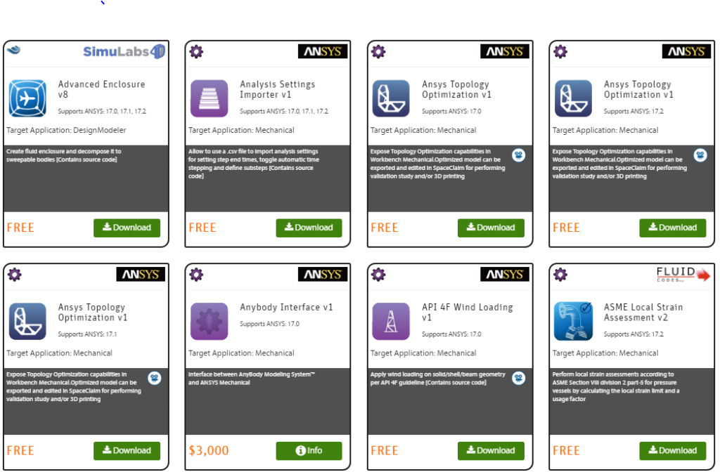 В магазине приложений ANSYS App Store (appstore.ansys.com) вы можете найти множество приложений под ANSYS от наших партнёров и сотрудников, многие из приложений бесплатны