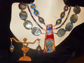 Photo: <BEREHYNYA> {Great Goddess Protectress} unique one-of-a-kind statement jewellery by Luba Bilash ART & ADORNMENT  FATA MORGANA - МІРАЖ - copper enamel pendant, shell, garnets, freshwater pearls, rose gold vermеil hook clasp/beads/lever backs SOLD/ПРОДАНИЙ