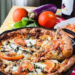 Eggplant Parmesan Caprese Skillet Pizza #WeekdaySupper