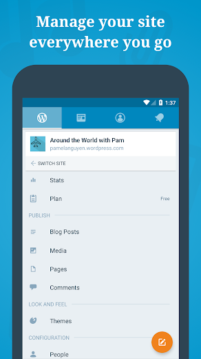 Screenshot 2 for WordPress's Android app'