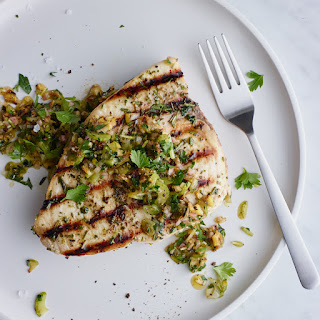 Grilled Swordfish with Herbs and Charred Lemon Salsa.