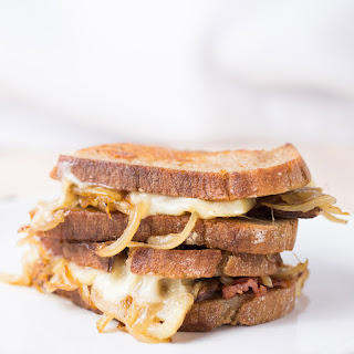 Gruyere With Caramelized Onions, Bacons And Mushrooms Grilled Cheese.