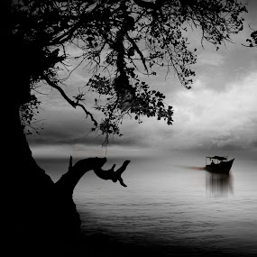 in a frame by iD 's - Black & White Landscapes ( water, clouds, tree, black and white, indonesia, bw, beach, boat,  )