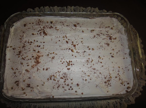 Pour the other half of the cool whip on top and spread.  Let...