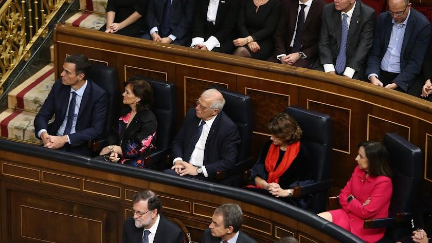 Pedro Sánchez, ayer en el Congreso.
