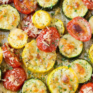 Roasted Garlic-Parmesan Zucchini, Squash and Tomatoes.