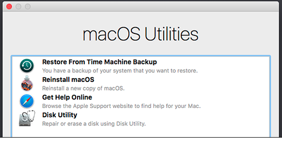 macOS recovery mode utilities